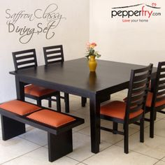 Simple elegant square table chairs with stool sitting on either sides for 4 to 8 pax personsBuy Winona Eight Seater Dining Set in Espresso Walnut Finish by Woodsworth Online - Eight Seater Dining Sets - Dining Sets - Pepperfry Dinning Table Design, Wooden Dining Table Designs, Simple Dining Table, 6 Seater Dining Table, Square Dining Tables, Wooden Dining Tables, Dining Room Table, Dining Chairs, Dining Set