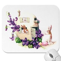 Violets and Bunny Egg Home Vintage Easter Mouse Pads