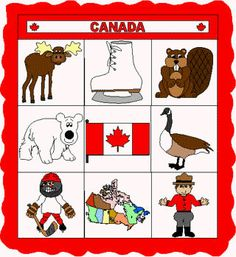 Make Bingo Cards This is a great cut and paste paper craft project for learning about Canada. It includes some Canadian animals, symbolic Canadian icons, the Canadian flag and a map of Canada. Canada For Kids, All About Canada, Canada Canada, Canadian Symbols, Canadian History, Canada Day Crafts, Canadian Animals, Paper Quilt, World Thinking Day