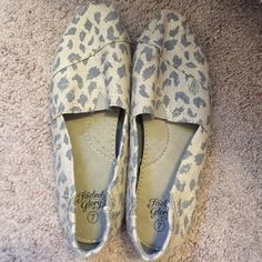 Cheetah slip-ons Worn once, in great condition. Size 7 true to size. No flaws! Faded Glory Shoes Flats & Loafers