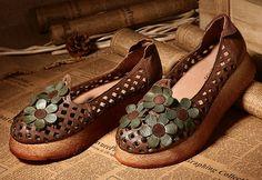 Handmade Women Leather Sandals with Flowers Design Summer
