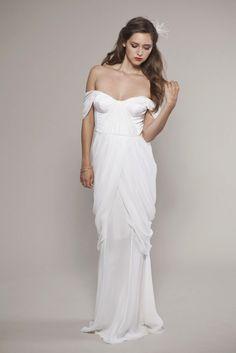 off the shoulder white wedding dress