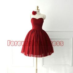 Sweetheart Ball Gown Red Prom Gown/Short Prom Dress 2014/Prom Dress Short/Cocktail Dress 2014/Party Dress/Custom Made Dress/Homecoming Dress on Etsy, $98.99