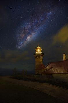 Untitled by Michael Mao on Lighthouse Lighting, Lighthouse Pictures, Vincent Van Gogh, Blinded By The Light, Boat Lights, Amazing Places On Earth, Sky Full Of Stars, Meteor Shower, Light Of The World