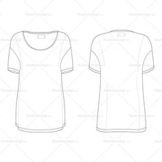 Black and white technical flat of oversized t-shirt. Dropped shoulder seam, boat neck, roll sleeve and twin needle stitching. Front and back view.