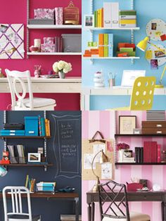 Home office ideas like the pinkish red wall paint with white borders and furniture