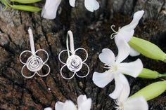 #handmade #silver #earrings. Each piece is uniquely #designed and #inspired in #nature #bridesmaids #wedding #weddingjewelry
