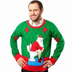 Ugly Christmas Sweater: Toilet Santa-The time to whip out your Holiday best is here again! This Sweater is completely Knit, just as if Grandma made each and every, tacky, stitch for you! They're super comfortable and cheesy, the perfect combination f Ugly Sweater Contest, Ugly Holiday Sweater, Ugly Sweater Party, Christmas Jumpers, Christmas Humor, Santa Christmas, Christmas Ideas, Christmas Gifts For Boyfriend, Boyfriend Gifts