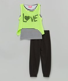 Another great find on #zulily! Lime 'Love' Tank Set - Toddler & Girls #zulilyfinds