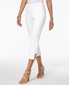 639eb957dcdc Jm Collection Pull-On Lattice-Inset Capri Pants