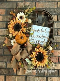 Fall Wreath Tobacco Basket Wreath Farmhouse Style Sunflowers Door Wreath Porch Decor Grateful Thankful Blessed Fall Home Decor Thanksgiving Wreaths, Fall Wreaths, Thanksgiving Decorations, Door Wreaths, Autumn Wreaths For Front Door, Fall Decorations, Fall Home Decor, Autumn Home, Tobacco Basket Decor