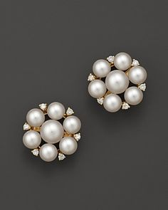 Cultured Freshwater Pearl Cluster Earrings in 14K Yellow Gold, 5mm