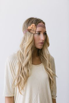 HEART Lace Headband - Stretchy Taupe Hair Band with Sequin Heart in Mocha Brown on Etsy, $19.99