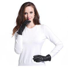 016L-US Women Black Genuine Nappa Leather Diamond Pattern Warm Winter Gloves L #InlnDtor #WinterGloves #Appointmentsleisureoperapartyandformal