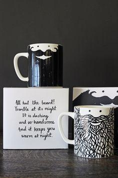 Beardy Mug Set - Hubert & George Vintage Shabby Chic, Retro Vintage, Quirky Kitchen, Rockett St George, Mid Century Decor, Kitchen Collection, Mugs Set, Kitchen Accessories, Kitchen Dining