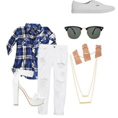 Blue Plaid White Jeans by aprilrodriguez92 on Polyvore featuring polyvore fashion style Rails One Teaspoon Vans Jennifer Zeuner Ray-Ban