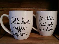 Let's have coffee together mugs, Proposal mug,Couple's engagement mug set,  engagement gift, wedding gift mug, engaged mugs, his and her mug