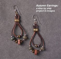 Autumn Earrings featuring TierraCast 2mm hole Nugget spacers and 6x2mm Barrel Bead. Design by  Tracy Gonzales for TierraCast.