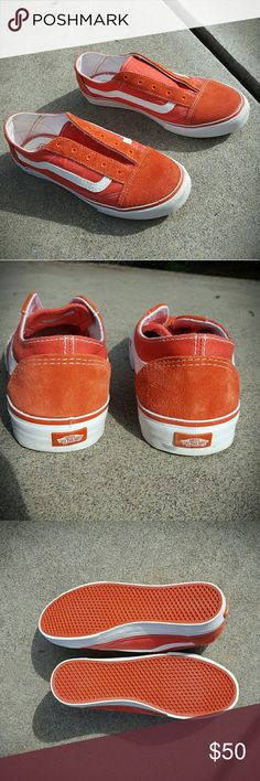 f387a9769fde VANS slip or laced orange suede old skool lo pro 1x wear. No spots or