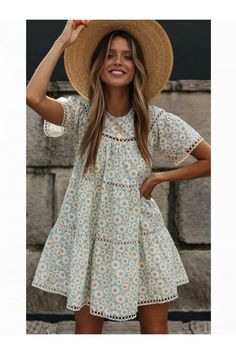 Summer Day Dresses, Summer Outfits, Winter Outfits, Pretty Summer Dresses, Summer Clothes, Stitching Dresses, Circle Dress, Boho Fashion, Fashion Dresses