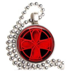 Red Celtic Cross Art Pendant Earrings and Keychain by YessiJewels