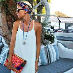 That tan tho ✔️ @annamavridis killing it in our 'Tamaramma' white maxi   up online now or [ Shop Insta in Bio ] #summerinsantorini #keepdreamming #vamastyle