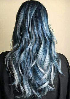 Image via We Heart It #blue #pretty #wavy #metallicsilver #hairgoals