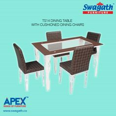 Attractive and stylish TS14 dining table with cushioned chairs is the right choice for your home. Visit us at www.swagath.co to get more details on the available vivacious colours!!
