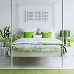 Green And White Rooms Summer Bedroom Design With Canopy Bed Ideas