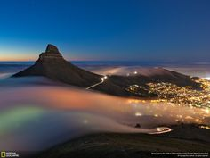 Long Exposure of Fog rolling into Cape Town, South Africa . Browse new photos about Long Exposure of Fog rolling into Cape Town, South Africa . Most Awesome Funny Photos Everyday! Because it's fun! Grand Canyon, National Geographic Photo Contest, Cape Town South Africa, Most Beautiful Cities, Amazing Places, Beautiful Sky, Beautiful Scenery, Beautiful Pictures, Travel Photos