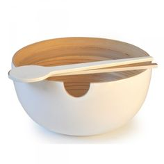 CALIMERO | Bamboo Salad Bowl, Ekobo. 62 €. $81. Our large capacity bamboo salad bowl with its modern silhouette will be your tables statement piece. CALIMEROs generous form allows you to mix your salad without splashing or spilling its contents. Weve added a practical notch on the rim for resting our matching MIRO tongs.  #bamboo #bowl #kitchen #decoration