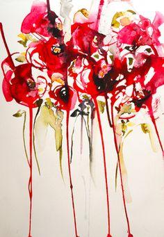 "Saatchi Online Artist Karin Johannesson; Painting, ""Poppies en masse IX"" #art"