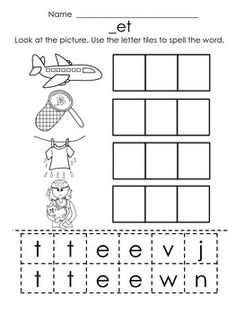 Students use glue and scissors to cut out and glue the letter tiles to spell CVC words and CVC words. This makes great independent work for my Kindergarten students once they've accomplished solid phoneme segmentation fluency on DIBELS. Each page features four words from a different short E e word family.