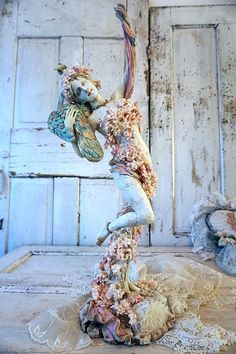 Tall woman peacock statue ornate shabby cottage chic graceful