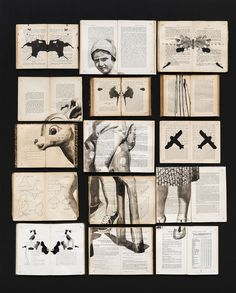 Fragmented Ink Paintings on Arrays of Vintage Books by Ekaterina Panikanova | Colossal