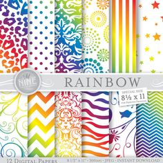 RAINBOW Digital Paper: Rainbow Printable Pattern Prints, Rainbow Download, 8 1/2 x 11 Rainbow Backgrounds Rainbow Scrapbook