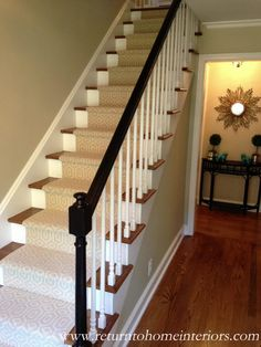 Choosing a Stair Runner: Some Inspiration and Lessons Learned - Lorri Dyner Design Hardwood Stairs, Wooden Stairs, Hardwood Floors, House Stairs, Carpet Stairs, Wall Carpet, Front Stairs, Entry Stairs, Contemporary Stairs