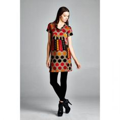 2015 Winter and Fall Short Sleeve with Some Circles Sweater Dress. Fall Sweater Dress Great fabric and a must-have, short sleeves with colorful circles, knit sweater, comes insizes small to large