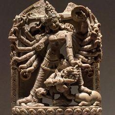 Durga killing the demon Mahisha, Bangladesh, 12th c., stone MMA 1993.7b #themet #metmuseum #durga