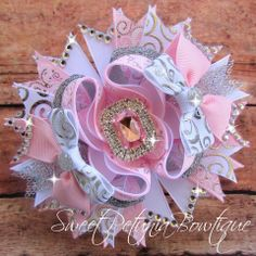 "***MADE TO ORDER*** Pink, Silver & White Sparkly OTT Bow  by Sweet Petunia Bowtique BIN: $16.50 Shipping: $2.75 (US ONLY)   Measures 5"" wide.  Choose from alligator clip or french barrette."