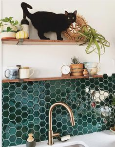 50 Glamorous Home Kitchen Tile Design Ideas For 2019 . - 50 Glamorous Home Kitchen Tile Design Ideas For 2019 - Hexagon Tile Backsplash, Hexagon Tiles, Bathroom Floor Tiles, Backsplash Ideas, Backsplash Design, Green Tile Bathrooms, Tub Tile, Mosaic Bathroom, Tiling