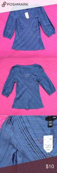 H&M Blue 3/4-length Sleeve Blouse Button and ribbon detail, lightweight, good for Spring 75% cotton 25% polyester H&M Tops Blouses