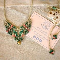 Handmade macrame necklace with brass bell  Available on Etsy: www.etsy.com/shop/Callistomacrame #handmade #macrame #bell #necklace #folk #ethnic #boho #bohemian #tribal #gypsy #beige #green #pink #playful #colorful #natural #callistomacrame...