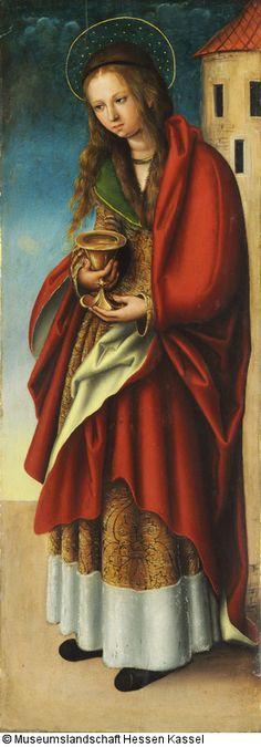 Die Hl. Barbara  Inventar Nr.: GK 13 Bezeichnung: Die Hl. Barbara Künstler:Lucas d. Ä. Cranach (1472 - 1553) Datierung: um 1510 Geogr. Bezug: Material / Technik: Lindenholz Maße: 74,3 x 27,3 cm (Bildmaß) Provenienz:erworben 1827 auf der Versteigerung Campe, Leipzig.  Katalogtext: Die um 1510 entstandenen Seitenflügel eines Altars, dessen Mitteltafel verschollen ist, waren beim Erwerb auf die Flügelaußenseiten des Allerheiligen-Altars von Jacob Cornelisz. van Oostsanen (GK 30)…