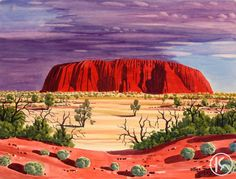Uluru (Ayers Rock) by Peter Taylor Tjutjatja from Alice Springs, Central Australia created a 49 x 37 cm Watercolour on Artist Board painting SOLD at the Aboriginal Art Store Australian Painting, Australian Artists, Landscape Art Quilts, Landscape Paintings, Landscape Illustration, Illustration Art, Australia Landscape, Aboriginal History, Aboriginal Painting
