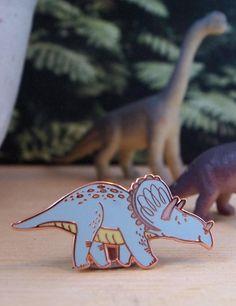 Blue Dinosaur Enamel Pin by emmacarlisle on Etsy