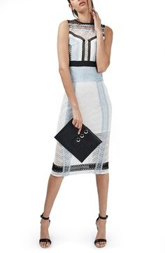 Topshop Colorblock Lace Midi Shift Dress available at #Nordstrom