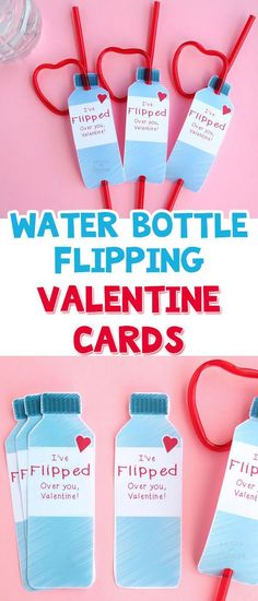 Free printable valentines cards for kids - perfect for tweens who love water bottle flipping (Valentins Day For Kids Printable) Free Valentine Cards, Kinder Valentines, Valentines Day Activities, Valentines For Boys, Homemade Valentines, Valentines Day Party, Valentine Day Crafts, Valentine Stuff, Printable Valentine
