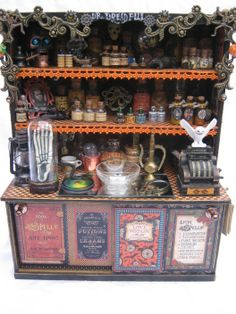 Ooak light up victorian steampunk christmas gift apothecary shoppe altered art