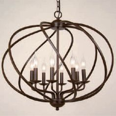 Beautiful!!! Montpellier Chandelier - only $159.  This beautiful chandelier is just about the perfect dining size. The all wrought metal fixture is hand made with beautifully curved that ends with curved at the bottom for extra style and design. Simple yet elegant! Light bulb : USE E12, MAX Power 25W. Need 8 bulbs not included  Materials: Metal  Care Instructions: Wipe clean with soft cloth  Weight: 4.2  Measurements: 17.8 x 21.6 x 21.6  Shipping Info: Item ships in 14-21 days.